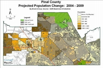 Pinal County Projected Population Change 2004-2009