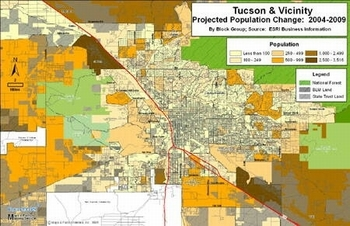 Tucson & Vicinity - Projected Population Change: 2004-2009
