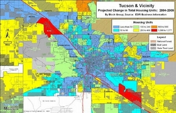 Tucson & Vicinity - Projected Change in Total Housing Units: 2004-2009