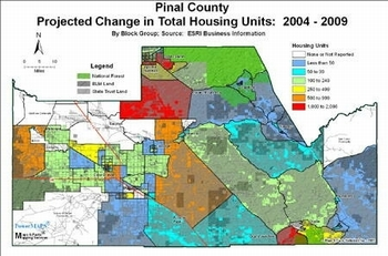 Pinal County - Projected Change in Total Housing Units: 2004-2009